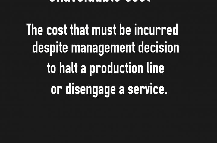 unavoidable costs are inescapable costs. No matter how management tries to avoid losses, this cost must be incurred. Lastly, most of these expenses are fixed in the short period of time.